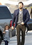 Ben Affleck held onto Seraphina's hand as they walked through a parking lot.