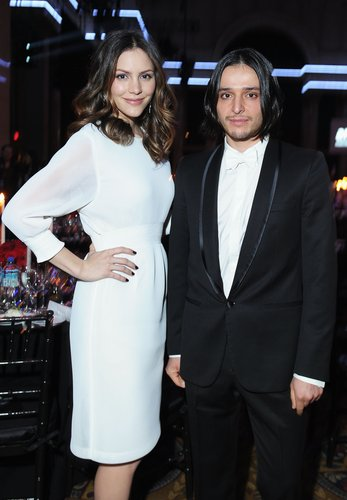 Katharine McPhee chatted with Olivier Theyskens at the amfAR event in NYC in February.