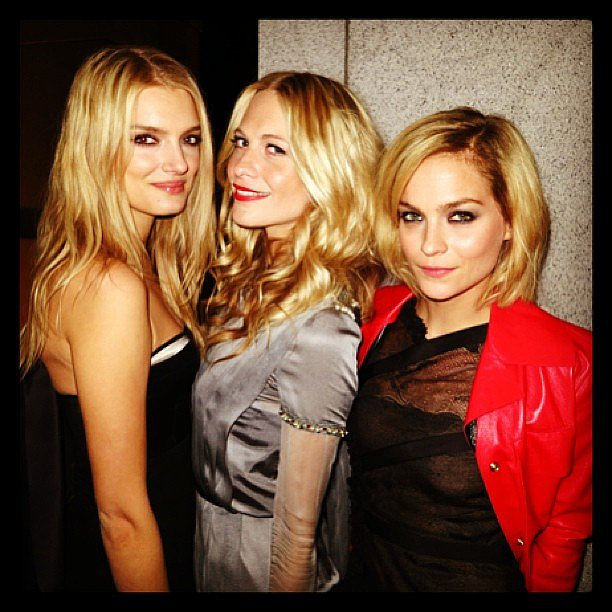 Lily Donaldson, Poppy Delevingne, and a newly blonde Leigh Lezark partied together at the amfAR Gala. Source: Twitter user DerekBlasberg