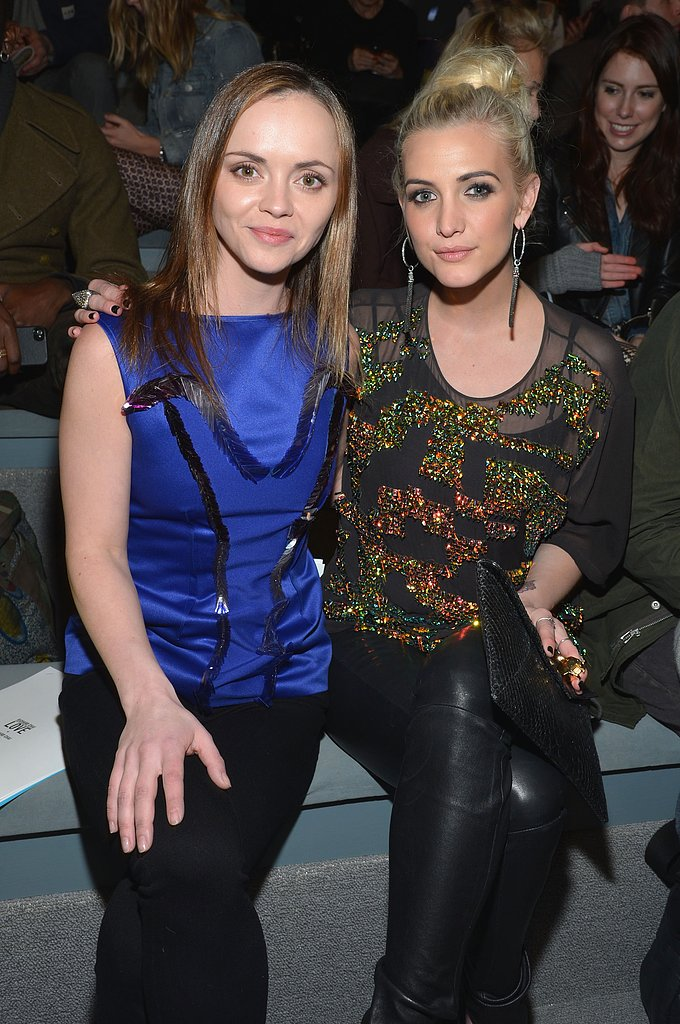 Christina Ricci and Ashlee Simpson buddied up at the front row of Richard Chai Love during NYFW. Christina went bold in a brilliant blue top, while Ashlee dazzled in a sequined blouse with black leather pants.