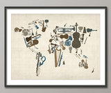 A variety of musical instruments comes together to create this musical map of the world ($24).