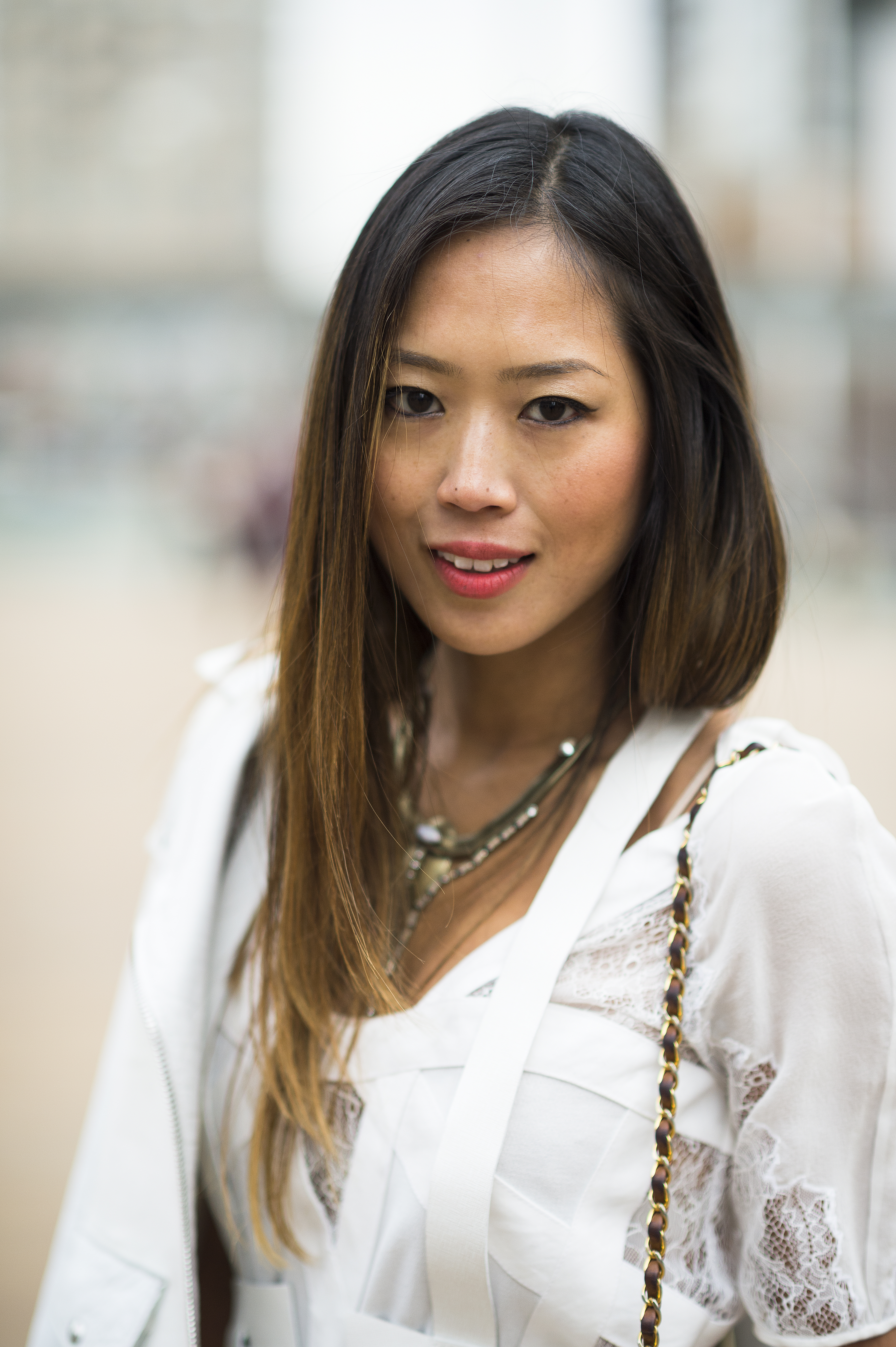 Aimee Song S Winter White Ensemble And Sleek Strands Got An Instant Beauty Street Style Soak