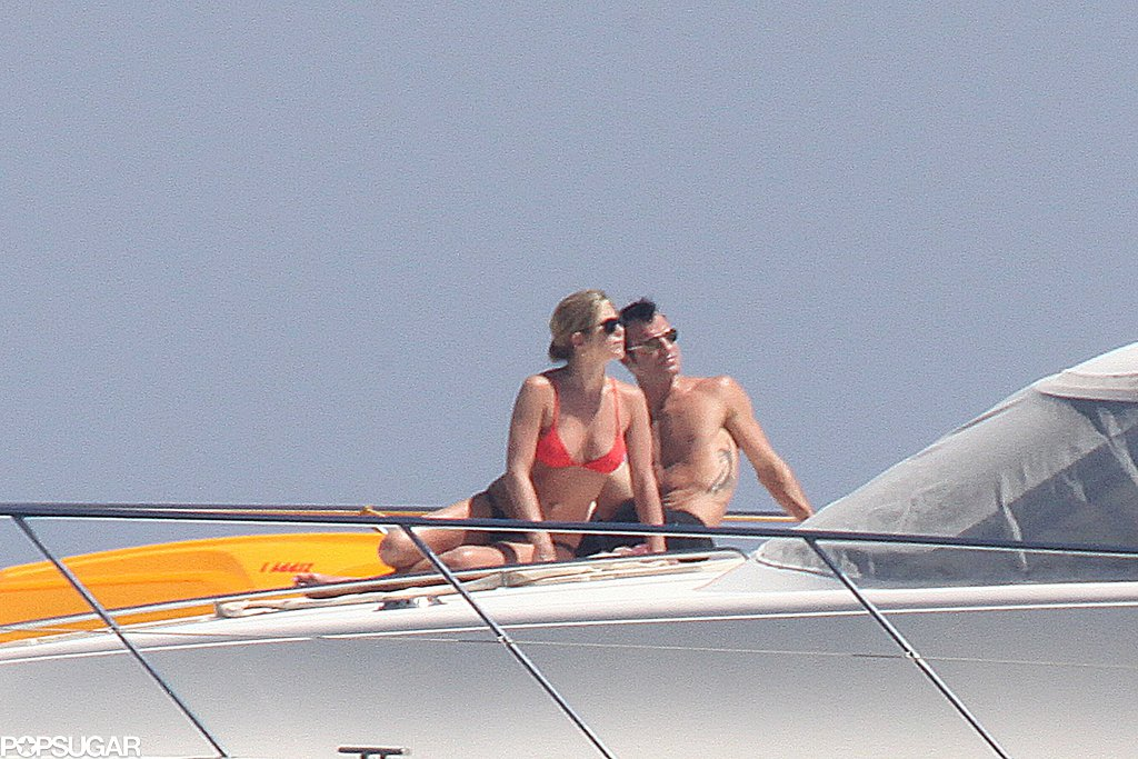 Jennifer and Justin lounged on a boat during their vacation in Capri, Italy in June 2012.