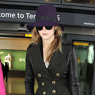Jennifer Lawrence Wears a Purple Hat at Airport (Pictures)