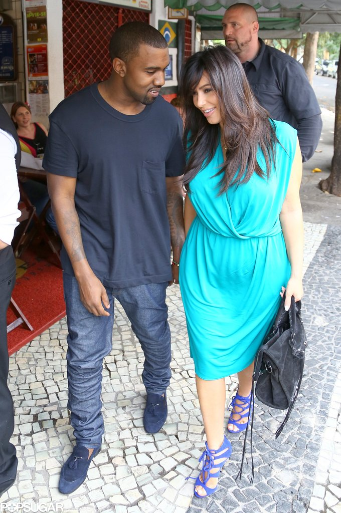 Kim and Kanye grabbed lunch in Rio in February 2013.