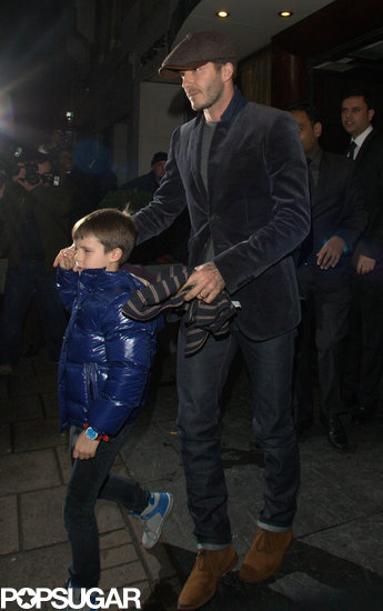 David Beckham held Cruz's hand as they left dinner Friday night in London.