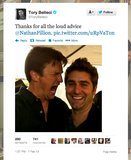 Actor Nathan Fillion makes himself loud and clear to Tory Belleci of MythBusters.