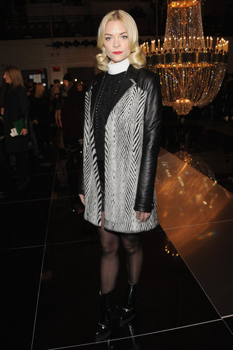 Jaime King's leather-sleeved zebra coat made a grand appearance front row at Jason Wu.