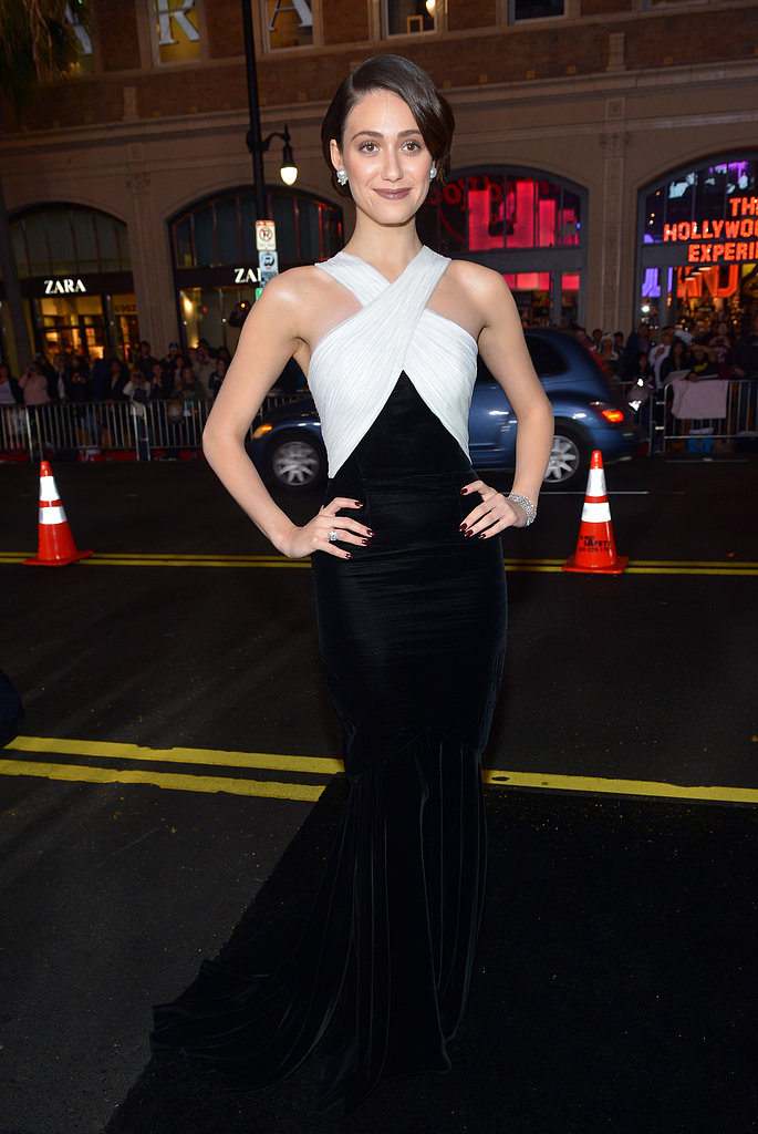 Emmy Rossum lit up the Beautiful Creatures red carpet in black-and-white Andrew Gn.