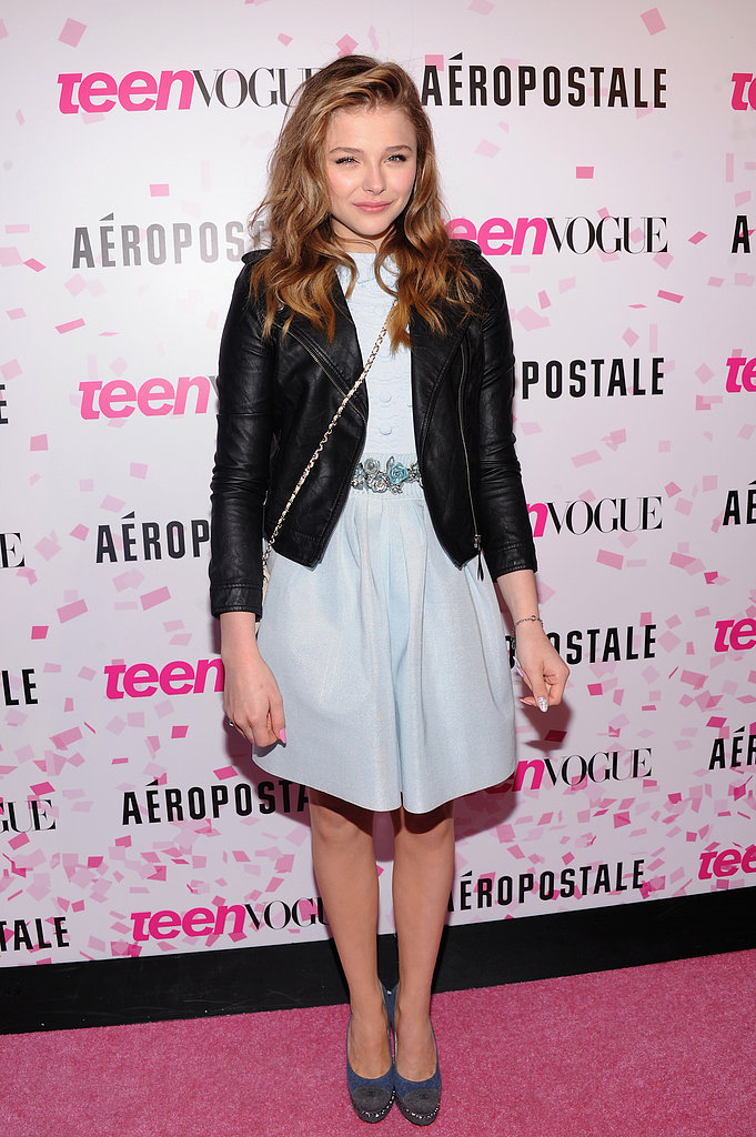 As the guest of honor, Chloë Moretz looked adorable in a baby-blue Chanel Resort '13 dress and a black leather Aeropostale jacket to celebrate her sweet 16 and the 10th anniversary of Teen Vogue in NYC.