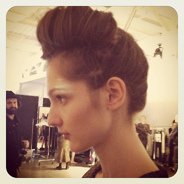 Forties-inspired backstage beauty at Creatures of Comfort.
