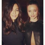 David Jones ambassadors Jessica Gomes and Miranda Kerr were looking chic in all-black outfits at the department store's fashion show. Source: Instagram user iamjessicagomes
