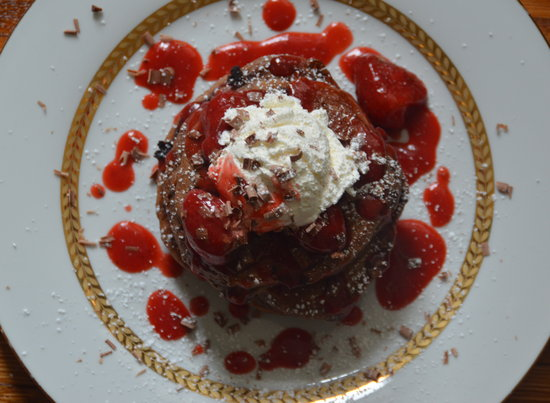 Double Chocolate Pancakes with Strawberry Syrup