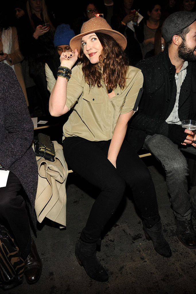 Drew Barrymore braved the blizzard to sit front row at Rag & Bone Friday.