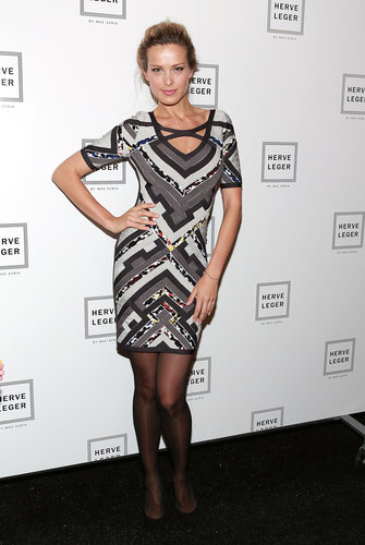 Petra Nemcova showcased her model curves in a printed Hervé Léger number during the Hervé Léger by Max Azria show.