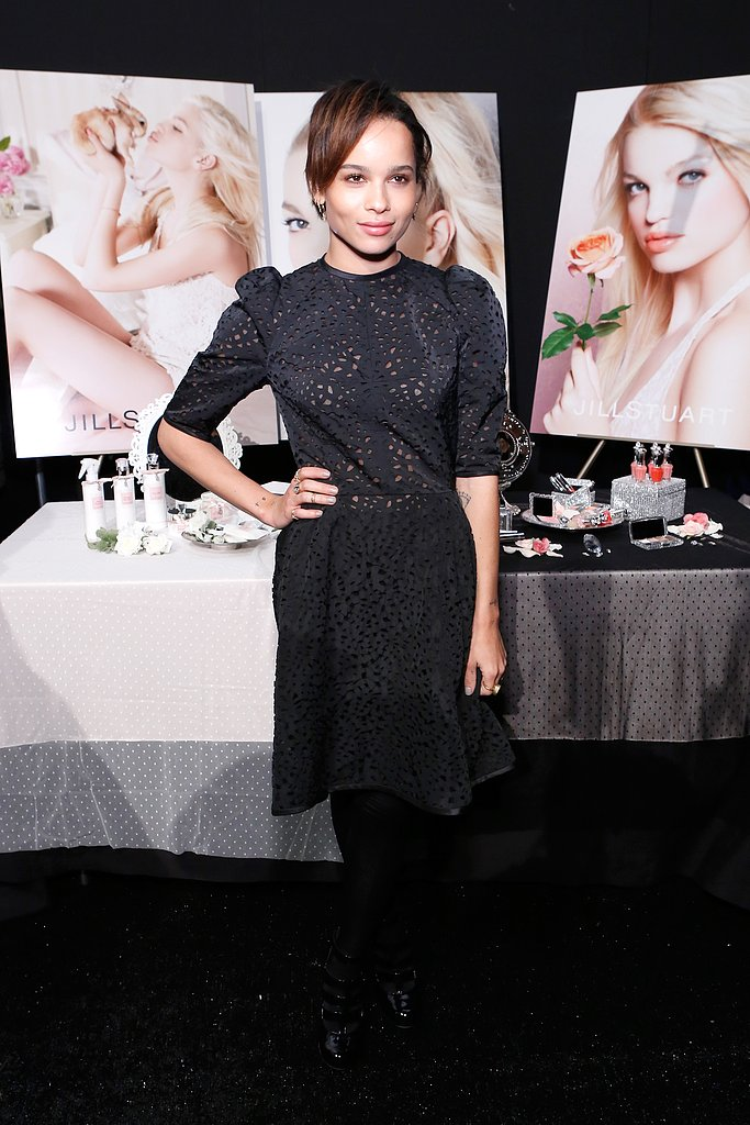 Zoe Kravitz donned a little black laser-cut dress with black tights at Jill Stuart.