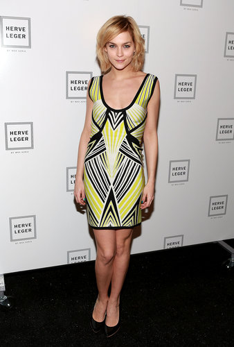 Leigh Lezark brightened up the black carpet in a printed citron mini at Hervé Léger.