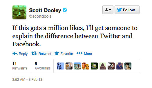 Scott Dooley aims to un-blur the line between Facebook and Twitter.
