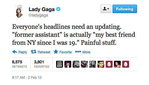"Lady Gaga gives us the facts about the ""former assistant"" who's suing her for unpaid overtime."