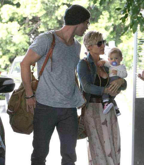 Chris Hemsworth wore a beanie at a Santa Monica hotel with wife Elsa Pataky and daughter India.