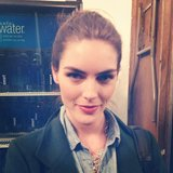 The stunning Hilary Rhoda hanging backstage at Carolina Herrera.