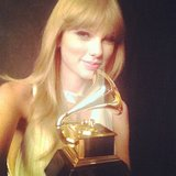 Taylor Swift showed off her trophy backstage at the Grammys. Source: Instagram user taylorswift