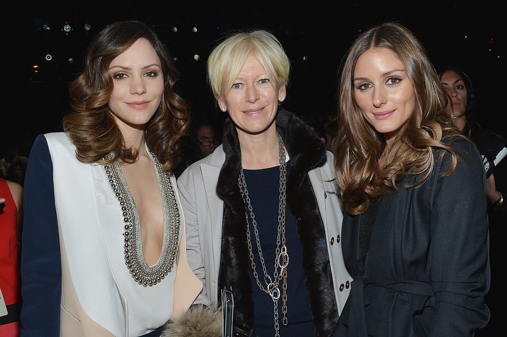 Katharine McPhee and Olivia Palermo chatted with Joanna Coles before the NYC Diane von Furstenberg fashion show in February.