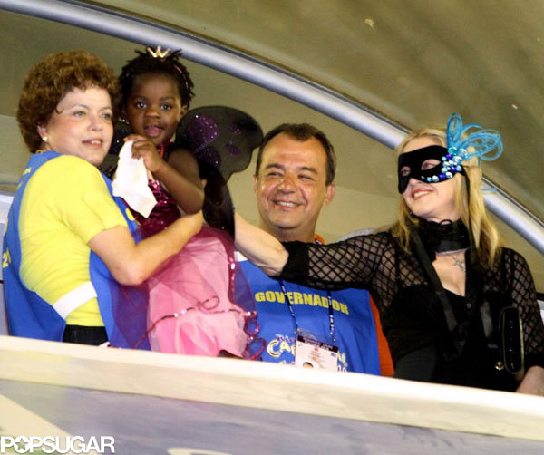 Madonna and Mercy dressed up for Carnival in Rio de Janeiro in 2010.