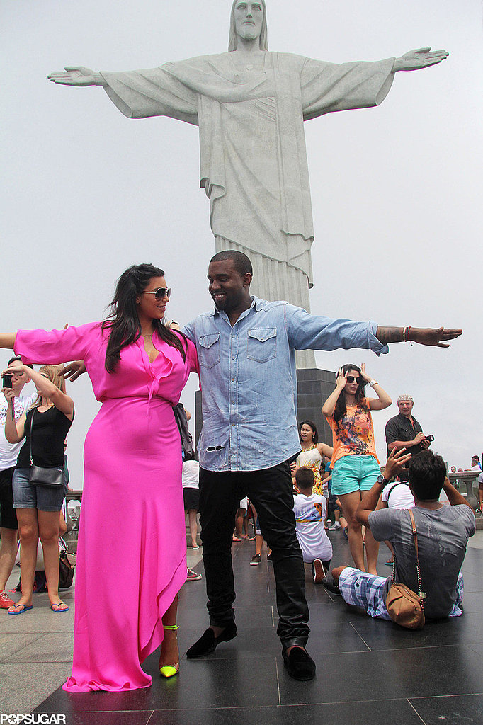 Kim Kardashian and Kanye West posed at the iconic Redeemer Statue in Rio de Janeiro in February 2013.