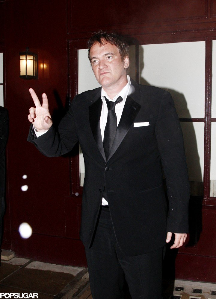 Quentin Tarantino chatted with people outside a BAFTA Awards afterparty.