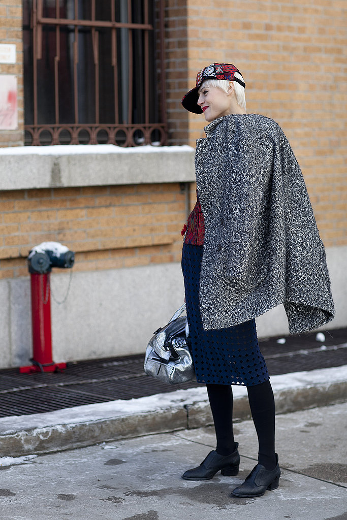 A tweed coat polished off a preppy-meets-sporty mix.