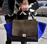 We love the colorblock effect on this calf hair Céline tote.