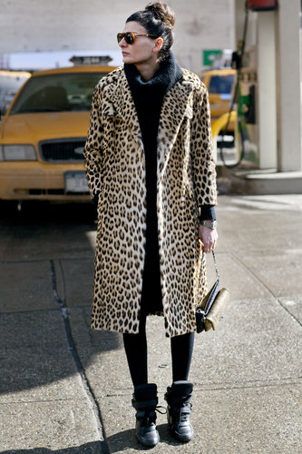 Giovanna Battaglia didn't need much more than this leopard-print coat to get our attention.
