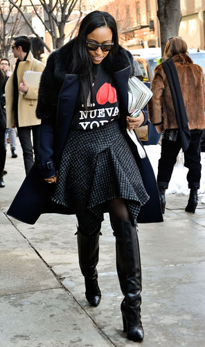 A catchy tee and Westward Leaning shades lent cool-girl appeal to Shiona Turini's architectural skirt — but really, it's those Alexander Wang boots that we can't stop staring at.