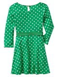 Pair this green polka-dot dress ($27) with shiny gold accents for sweet Mardi Gras style.