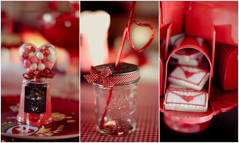 The Valentine's Day theme appeared in every detail, from the heart-shaped gumball machines to the mini mason jars with heart-shaped straws to red mailboxes stuffed with edible heart envelopes.  Source: Jenny Cookies