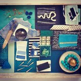 "A blue-on-blue ""vibe tray"" from Kelly's book, Rhapsody."