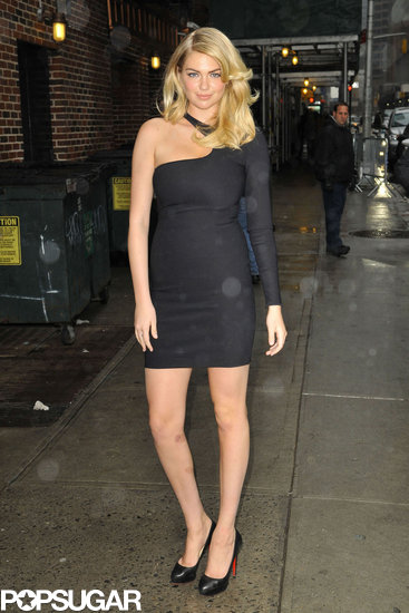 Kate Upton arrived at the Late Show on Monday night.
