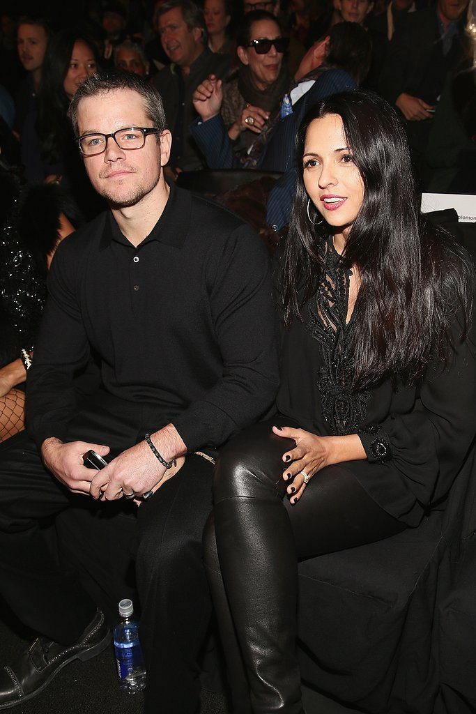 Matt and Luciana Damon sat front row during Fashion Week.