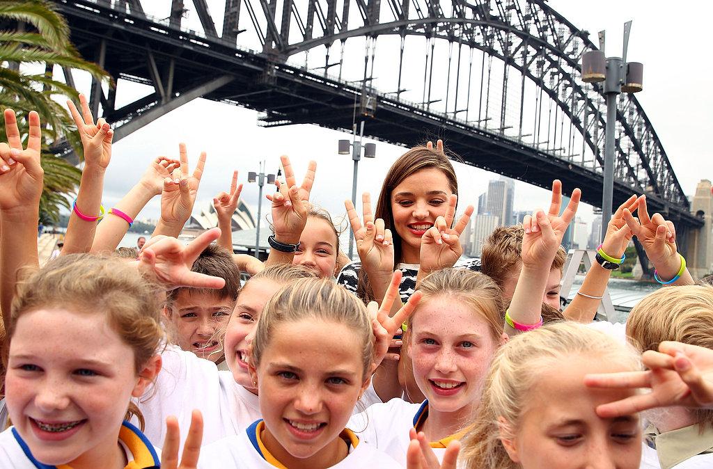 Miranda Kerr promoted the Kids Helpline in Sydney.