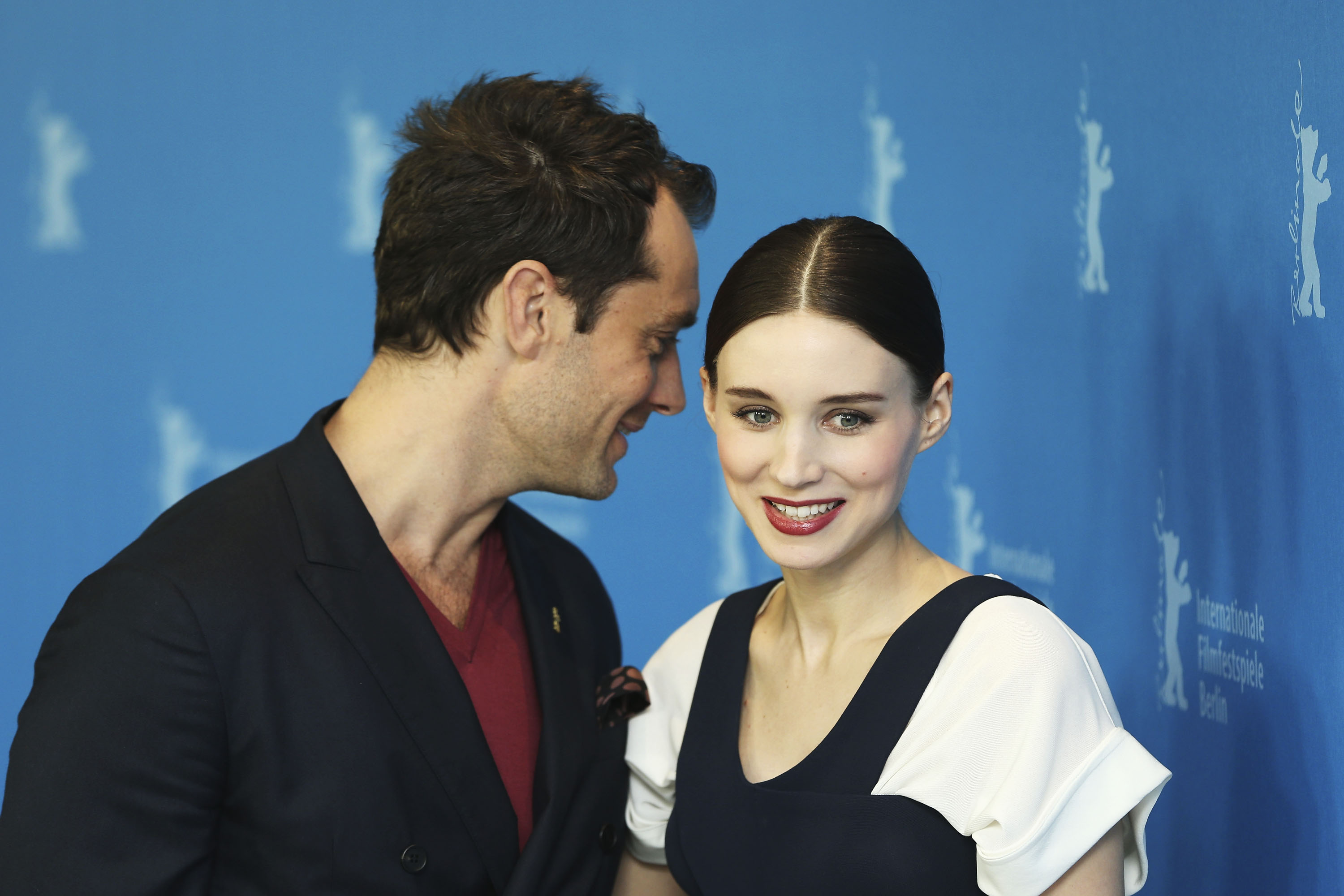 Jude Law chatted with Rooney Mara at the photocall for Side Effects on Tuesday at the Berlin Film Festival.