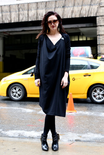 Draped silhouettes helped soften this all-black ensemble.