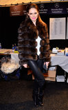 At Dennis Basso, Coco Rocha proved that brown and black are no longer fashion enemies. The model paired a plush chocolate fur coat with slick black leather pants and matching boots.