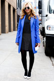 Top it all off à la this show-goer with an eye-popping shade of blue that will transition perfectly into Spring.