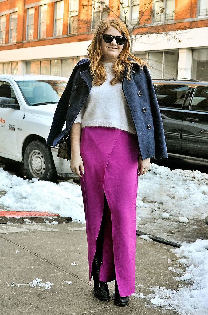 A fuchsia maxi was an easy way to liven up a basic sweater.