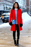 Now, this is a statement coat —a simple silhouette, but a bold flash of color.