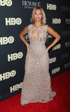 Beyoncé sparkled in her embellished Elie Saab gown.