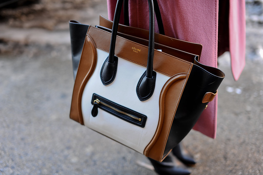 We love the cool colorblocking detail on this Céline tote.