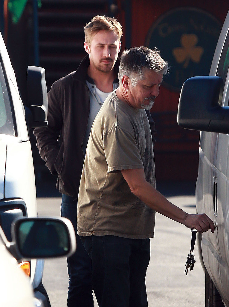 Ryan Gosling and a friend got into a white van after lunch.