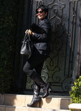 Kris Jenner left her house with Kim Kardashian and Kanye West.